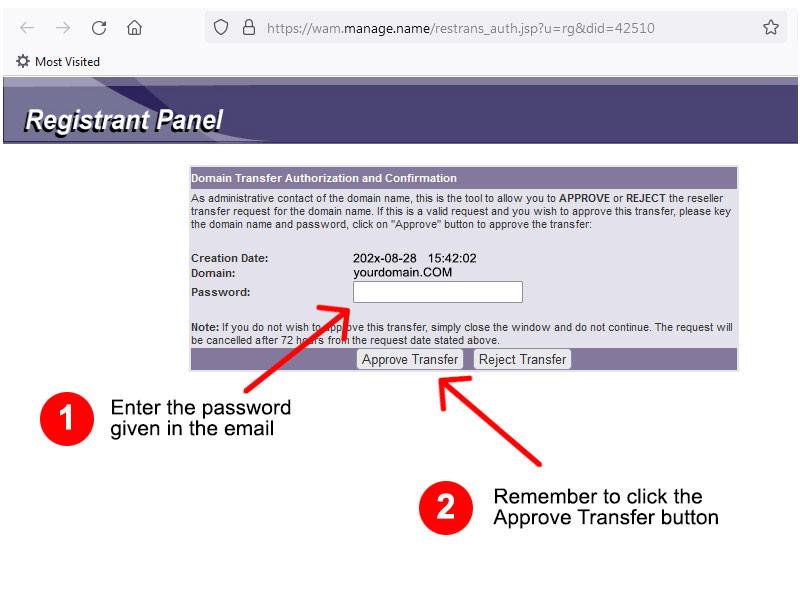 Registrant Approval Panel